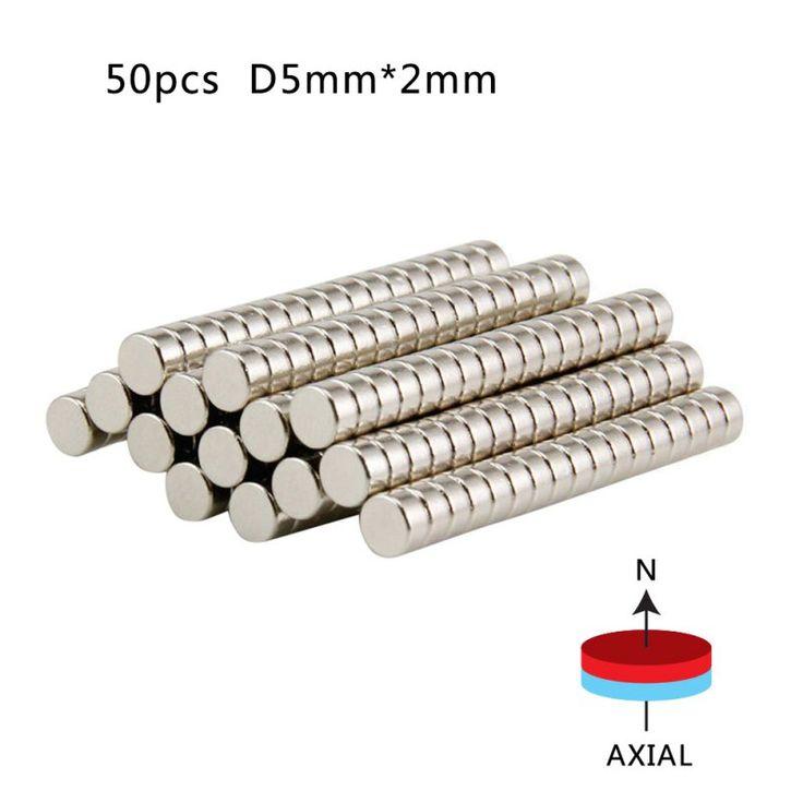 50 قطع 5 ملليمتر x 2 ملليمتر سوبر مغناطيس قوي جولة القرص نادر الأرض مغناطيس النيوديميوم n50 مجانية
