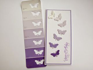 Die Cut Butterflies from a freebie paint chip sample = A simple, and yet pretty, birthday card! - Crafting Now