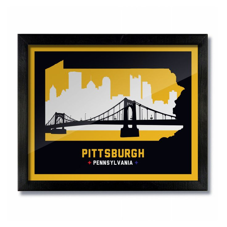 Pittsburgh, Pennsylvania Skyline Print: Black Yellow Football