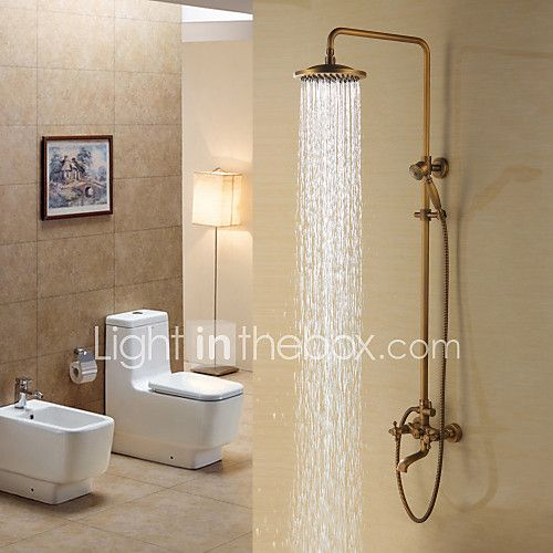 Antique Brass Tub Shower Faucet with 8 inch Shower Head + Hand Shower 2017 - $162.79