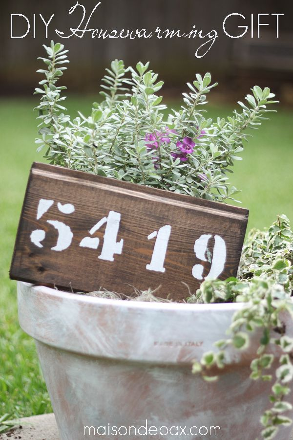 creative, thoughtful, personal - this DIY whitewashed pot with plants and a painted wood house number sign is a housewarming gift or front porch planter   maisondepax.com