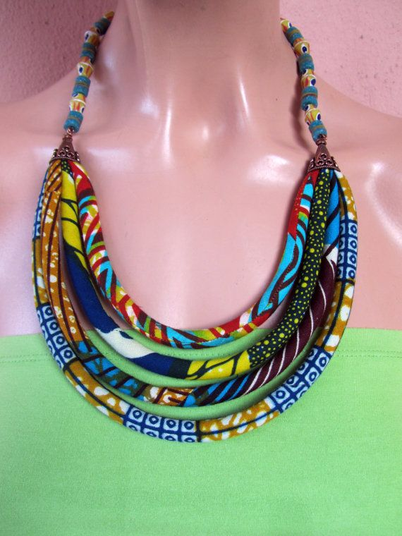 COLORFUL African wax print BIB necklace