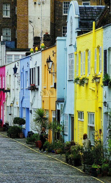 Colorful Houses in Paddington, London.