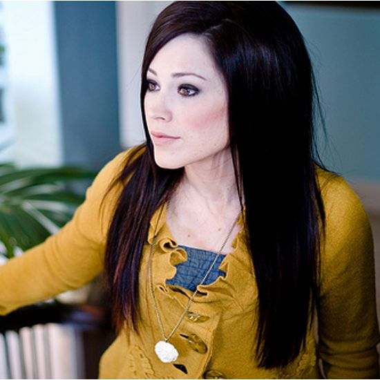 Kari Jobe Fashion: ruffled, appliquéd cardi in a fun color with artistic buttons paired with a sweet shirt underneath