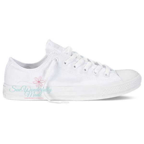 Monogrammed White Converse Monochrome All White Low Top Converse White... (€85) ❤ liked on Polyvore featuring shoes, sneakers, black, sneakers & athletic shoes, tie sneakers, women's shoes, black oxford shoes, black glitter sneakers, evening shoes et white sneakers