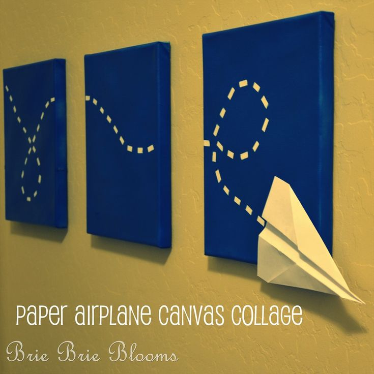 Paper Airplane Canvas Collage. You could do this with a butterfly, ladybug, bird, or anything else that flies, really. It would be very cute for a kid's room.