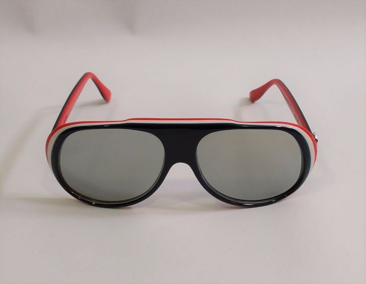Vtg 80s I Ski Red White Blue Layered INCLINE Mirror Sunglasses Japan