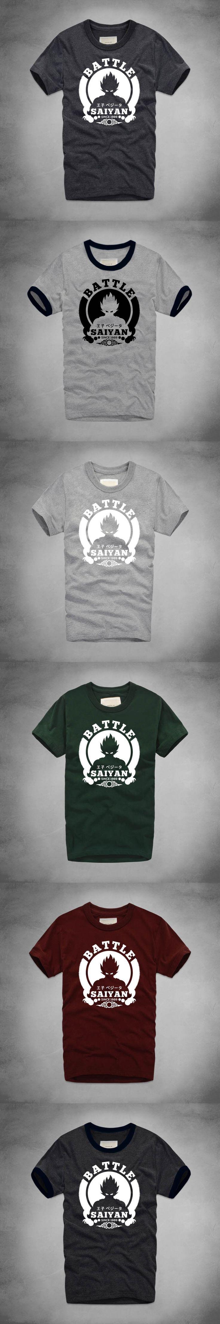 Battle Saiyan Goku T-Shirt Anime Dragon Ball Funny Print T-shirts Summer Casual Men Tee Shirts Thick Cotton Short Sleeve T Shirt