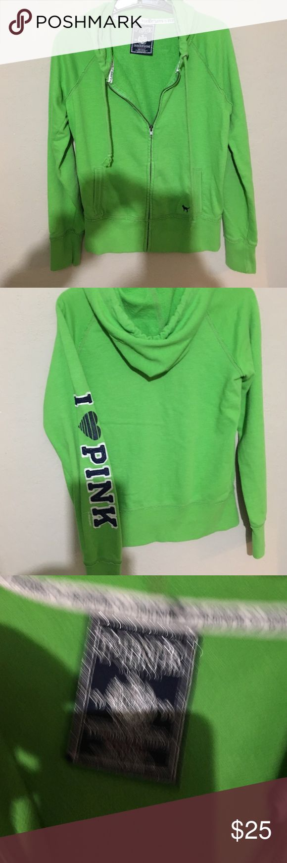 Victoria Secret Pink size medium green zip-up Long sleeve Size medium bright green zip-up hoodie. Victoria Secret Pink no rip, stains or flaws. Just don't wear anymore. Super cute 😊. Make me an offer no under bids please. PINK Victoria's Secret Tops Sweatshirts & Hoodies