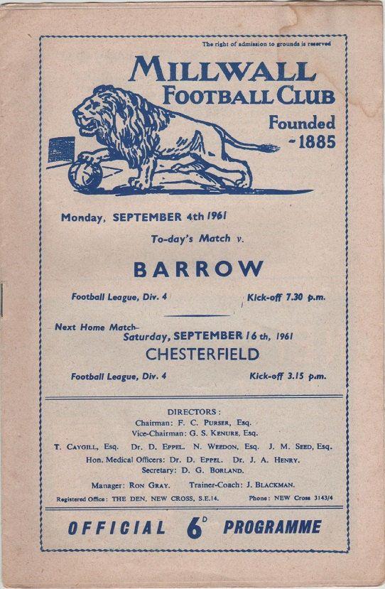 Vintage Football Programme - Millwall v Barrow, 1961/62 season, by DakotabooVintage, £2.99