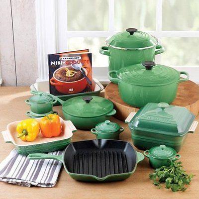 Le Creuset Cookware Set , 20 Piece Enameled Cast Iron  ALL COLORS