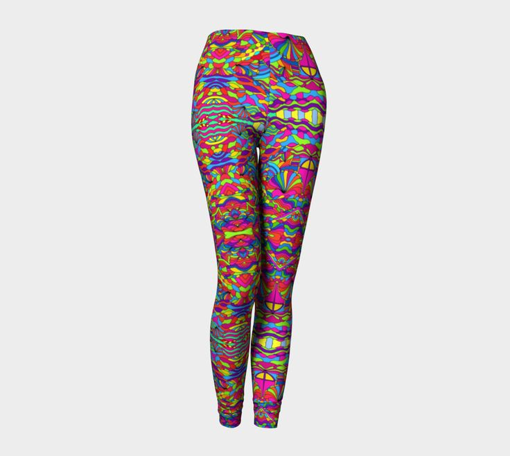 "Leggings+""Colorfull+psychedelic+art""+by+1/4+Psychedelic+Studio+Art"