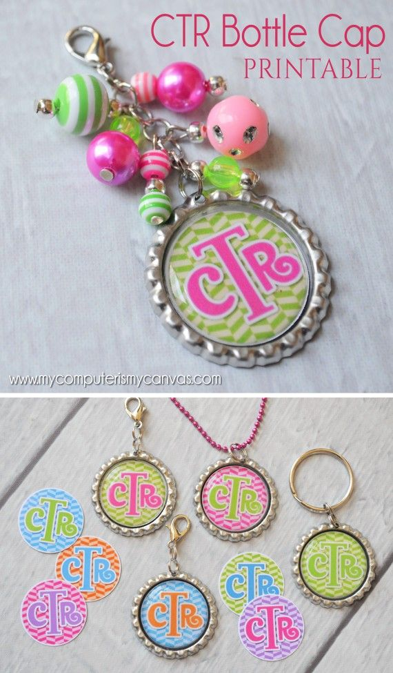 CTR Bottle Cap Crafts - printable CTR images for making key chains, necklaces, zipper pulls and magnets.  Perfect Christmas, birthday or baptism gift! #mycomputerismycanvas