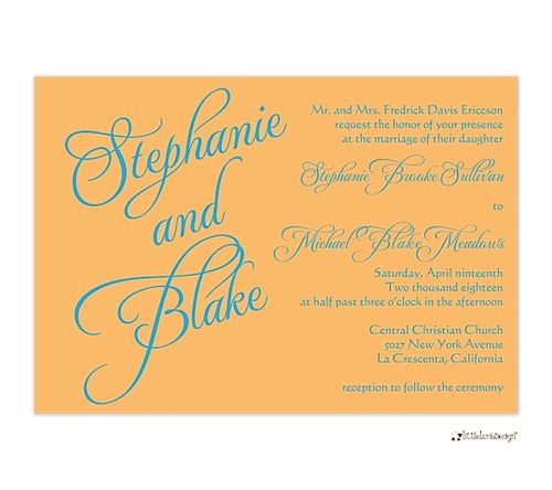 17 Best images about Sweet Orange Wedding Invitations on Pinterest - best of invitation name designs