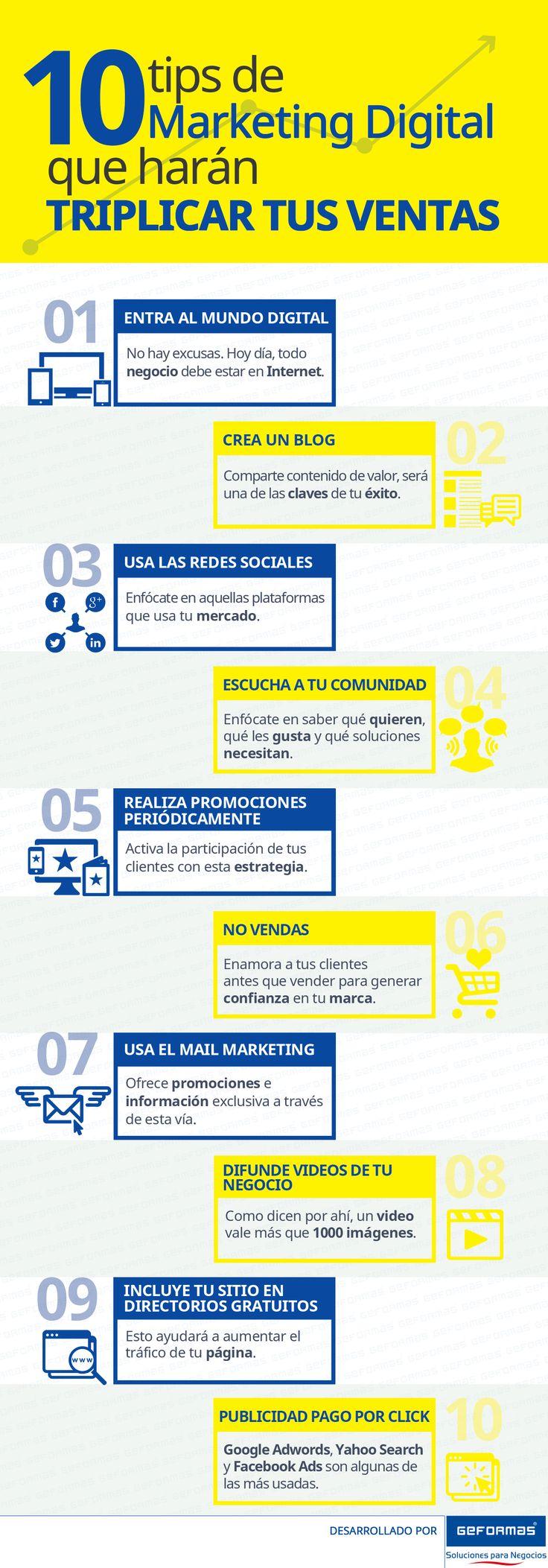 10 consejos de marketing digital para triplicar tus ventas #infografia Ideas Negocios Online para www.masymejor.com