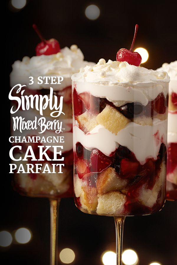 Toast the holiday season with this festive 3-step recipe. It's a party in a dish when you combine the refreshing taste of Simply Mixed BerryTM with layers of whipped cream, and raspberry liqueur and champagne soaked pound cake.