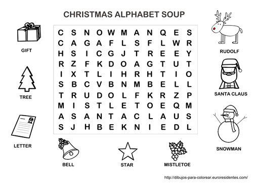 Sopa de letras de navidad en ingles