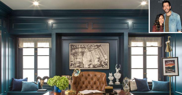 Dark Green Home Office Design