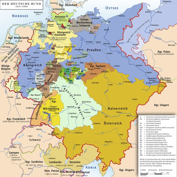 Map of The German Confederation 1815-1866 Attribution: ziegelbrenner GNU FDL