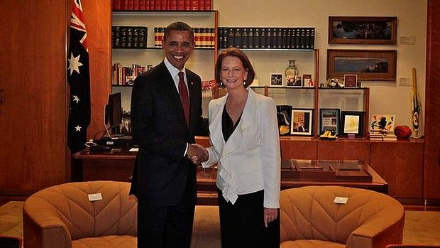 President of the United States Barack Obama greets then prime minister of Australia Julia Gillard during a visit to Canberra in 2011.