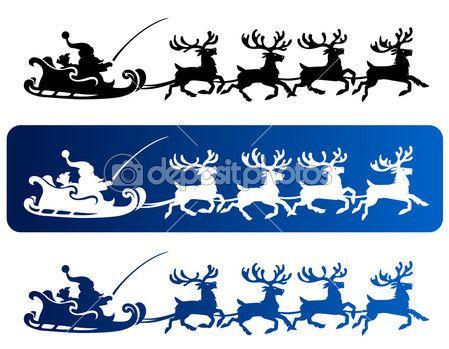 silhouettes de Noël Santa traîneau — Illustration #14093931