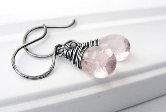 Pink Gemstone Earrings in Oxidized Sterling Silver by BlueRoomGems, $48.00
