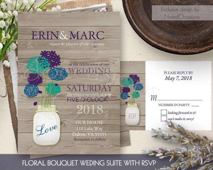 Rustic Mason Jar Wedding Invitation Set - Country Wedding Teal Purple and Mint | Spring and Summer Country Wedding DIY digital printable by NotedOccasions on Etsy https://www.etsy.com/listing/244694572/rustic-mason-jar-wedding-invitation-set
