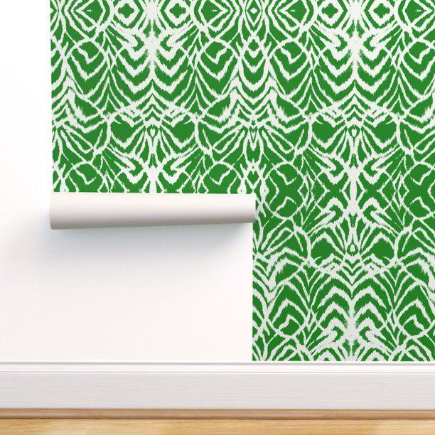Peel And Stick Removable Wallpaper Tribal Animal Emerald Ikat Kelly Green Zebra Walmart Com Removable Wallpaper Green Zebra Wallpaper