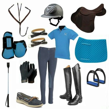 Cute blue jumper equestrian riding outfit. Jumper, sperry, composite stirrups, breast plate, GPA helmet, crop, ariat boots.