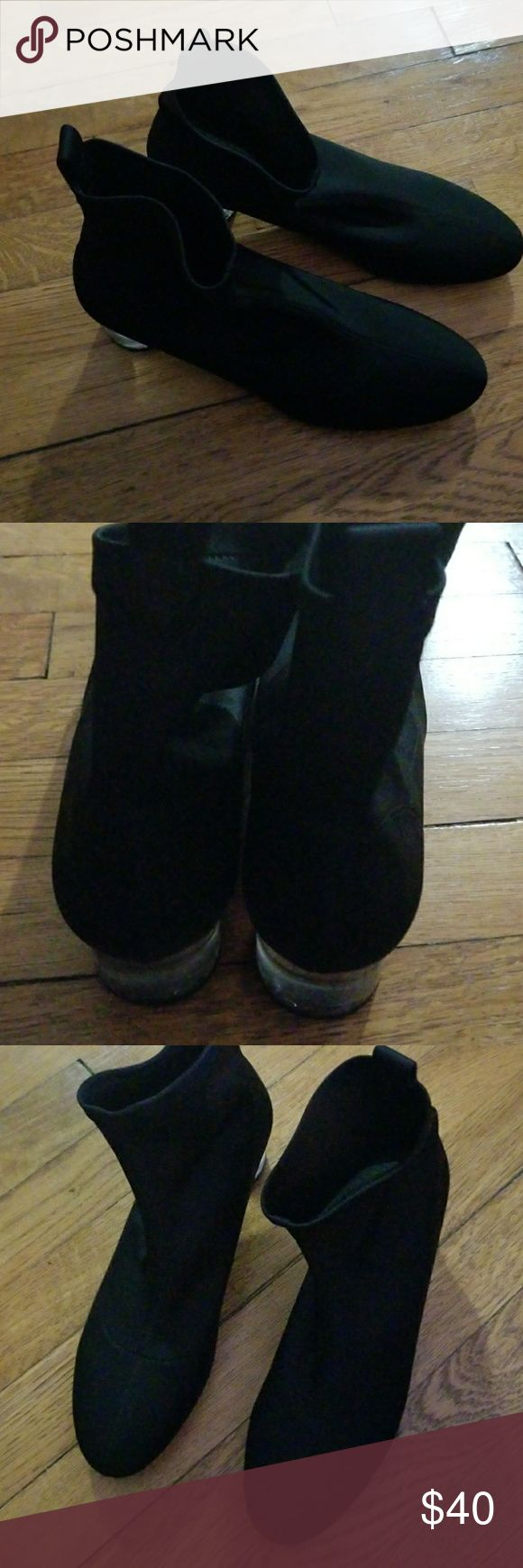 Zara sock boots Zara sock boots, crystal simulation heels. In good lighty used condition. Zara Shoes Ankle Boots & Booties