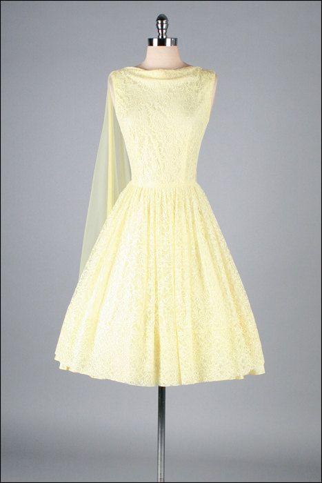 Vintage 1950s Dress . Yellow Lace . Chiffon by millstreetvintage