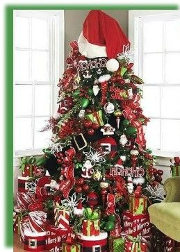 Christmas, christmas tree, tree, decorations, christmas decorations, decorating a christmas tree, christmas tree decorations, santa, santa hat, ribbon, stockings, green, red, baubles, red christmas tree, holidays