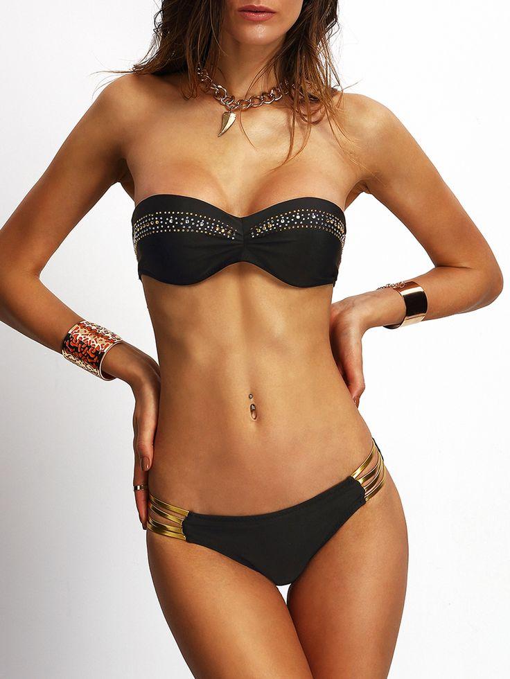 Triangel-Bikini+trägerlos+mit+Edelsteinen+besetzt+-schwarz+15.75