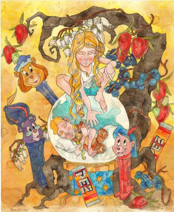 Gummi Bears, Pez dispenser, Kids room, Childrens toys, watercolor illustration, cartoon art, 90s cartoon, cartoon network