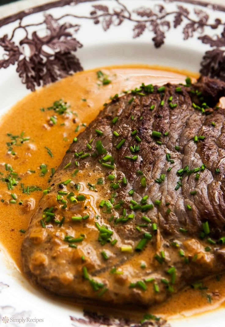 Steak Diane ~ Pan-fried steak with a Diane sauce of cognac, shallots, butter, mustard and cream. ~ SimplyRecipes.com