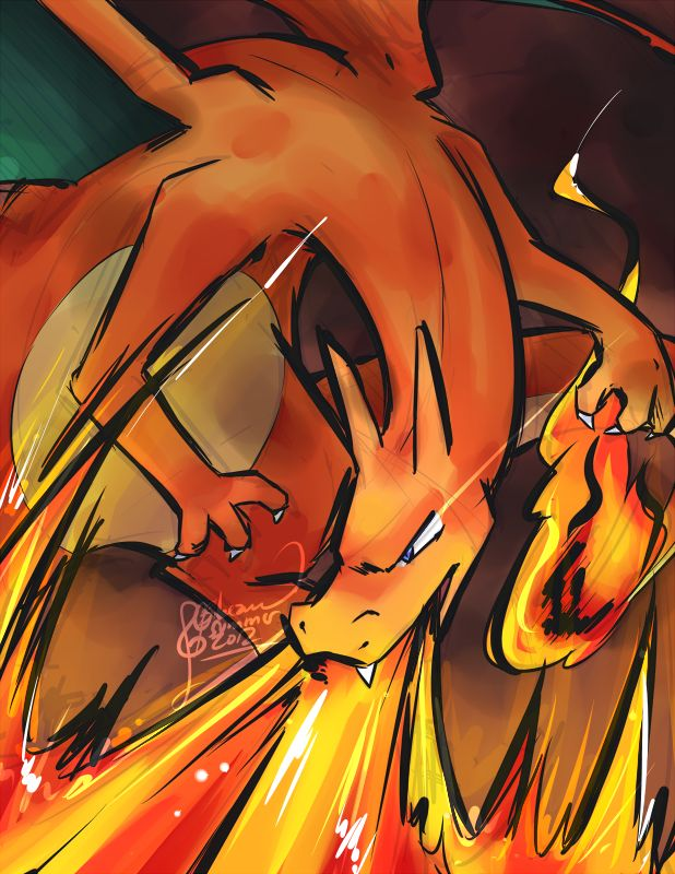 PKMN - Charizard Used Flamethrower by ClefdeSoll.deviantart.com on @deviantART