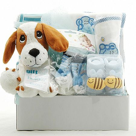Puppy Baby Hamper For Boys - Baby Baskets and Baby Hampers & Baby Gifts - Gift Delivery in Melbourne, Sydney and Australia