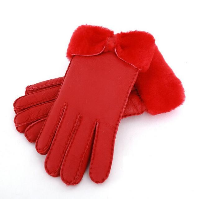 Genuine Sheep Fur Women's Warm Fur Gloves in Winter Female Real Leather Gloves Hand-made Thick Outdoor Ski Waterproof Gloves