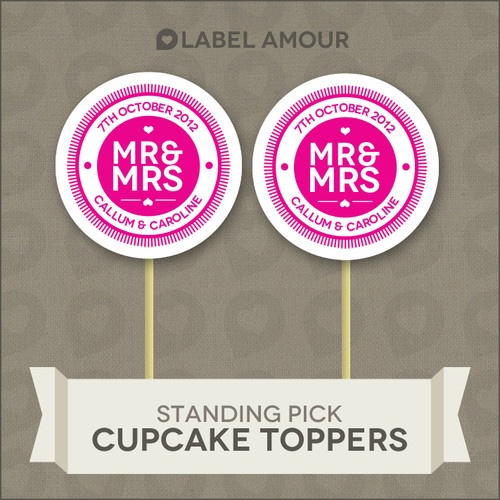 ❤ 20 PERSONALISED Cup Cake Toppers | Wedding Mr & Mrs | Cupcake Decoration ❤ 001 | eBay