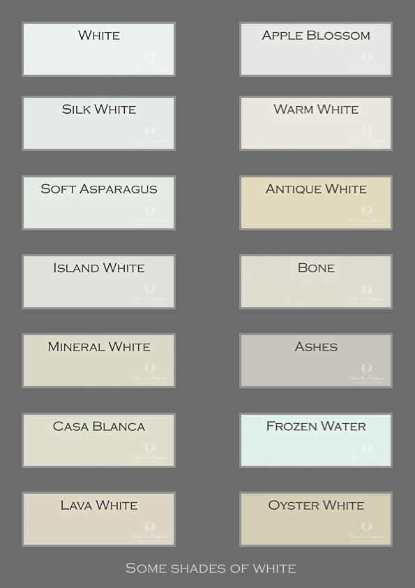 Just some of our White colors. www.pure-original.com