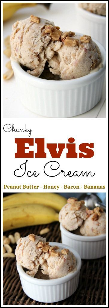 Chunky Elvis Ice Cream recipe - homemade ice cream with peanut butter, bananas, honey, and bacon! SnappyGourmet.com