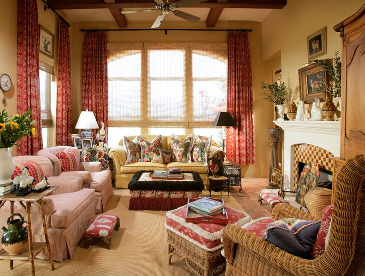 This inviting, colorful family room offers a variety of colors and textures.