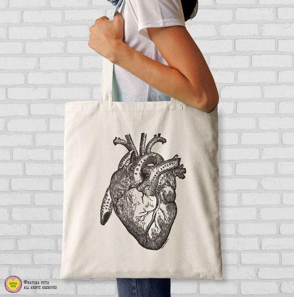 Borse in cotone - Borsa anatomia cuore umano-NPTB020 - un prodotto unico di NATURAPICTA su DaWanda