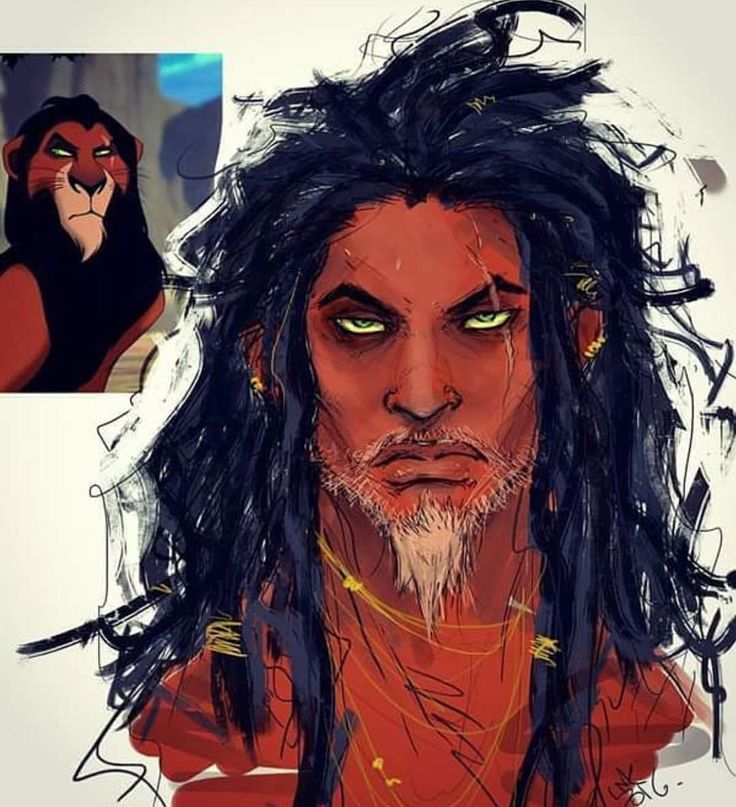 Scar, from the Disney classic, The Lion King, reimagined as human. : by @ink_mad