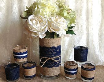 navy blue and roses baby shower | navy blue rustic burlap and lace co vered vase and 6 tea candles ...