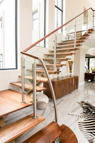custom mild steel staircase timber treads glass balustrades