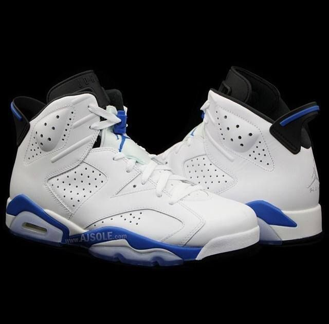 nike air jordan vi white\/sport blue 1991 firebird
