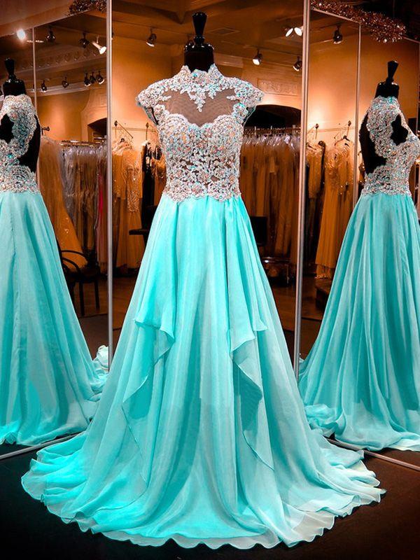 A-line+High+Neck+Floor-length+Chiffon+Prom+Dresses/Evening+Dresses+#SP7229