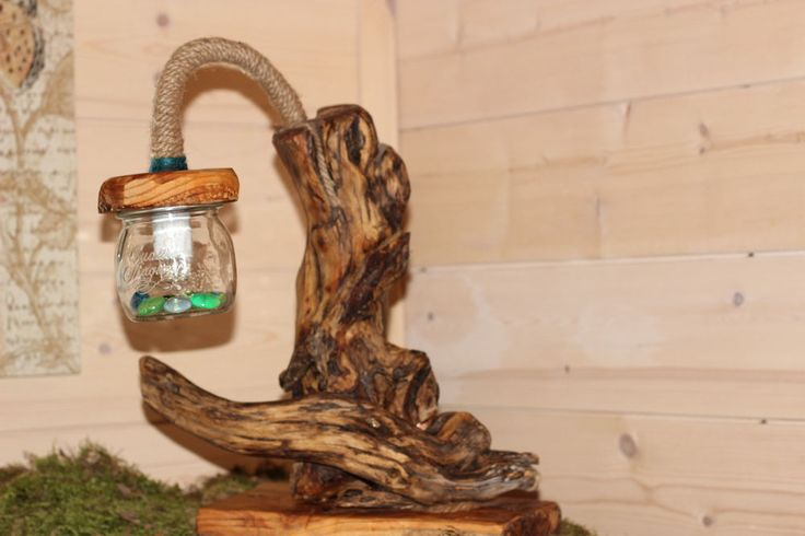 lampada legno GNOMOWOOD driftwood lampa E14 Taverna Rustico Handmade in Italy