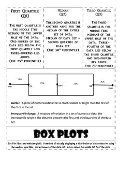 Box Plot Foldable for interactive math notebook